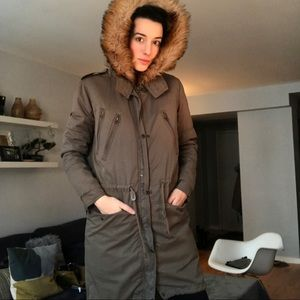 ASOS faux-fur removable lining army green parka